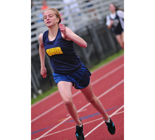 BILL LANDON FILE PHOTO  |  Shoreham-Wading River sophomore Courtney Clasen won three events against Hampton Bays Tuesday.