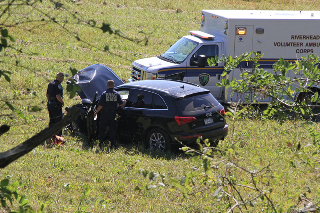The Audi's driver was treated at Peconic Bay Medical Center. (Credit: Carrie Miller, file)