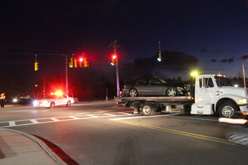 CARRIE MILLER PHOTO  |  Two cars collided at the intersection of Route 58 and Kroemer Avenue Friday night.