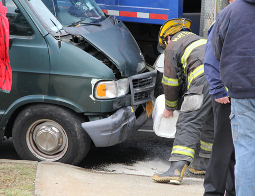 CARRIE MILLER PHOTO | Firefighter at the scene of a crash Tuesday in Laurel.