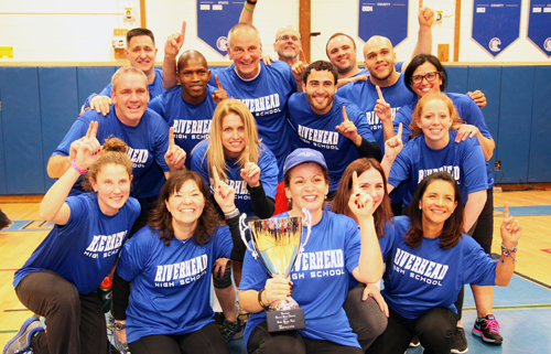Riverhead High School staff finished in first place at Crazy Sports Night with 27 points. (Courtesy photo)