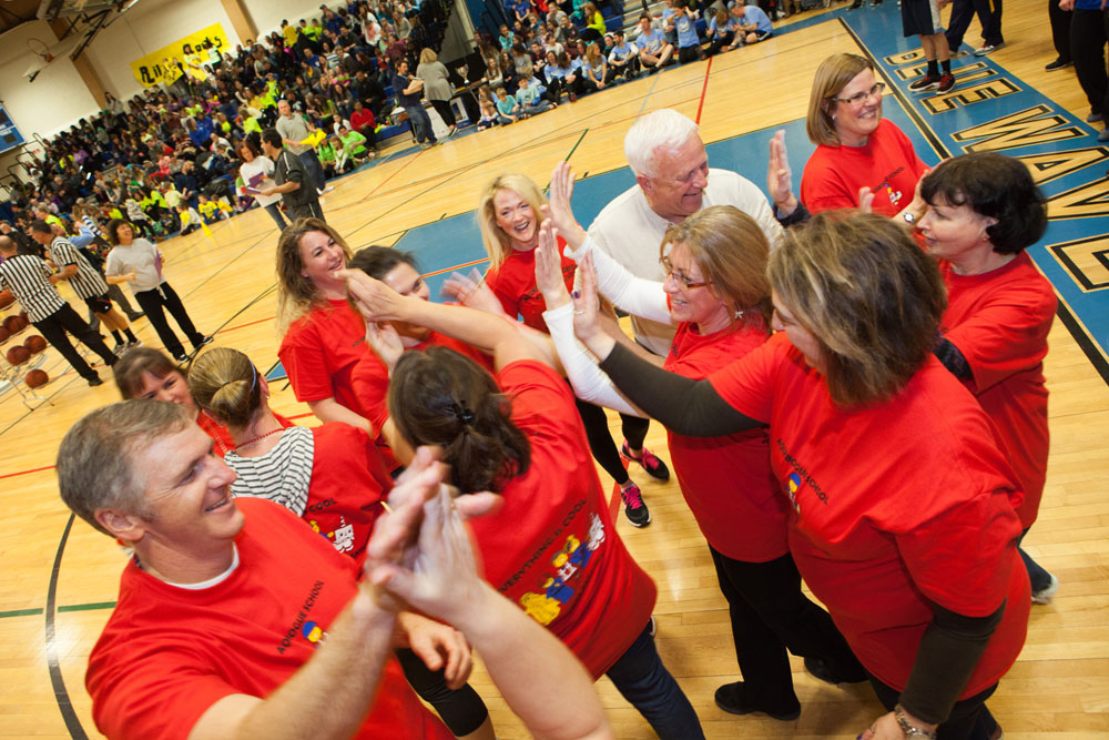 Faculty from Aquebogue Elementary School celebrate. (Credit: Katharine Schroeder)