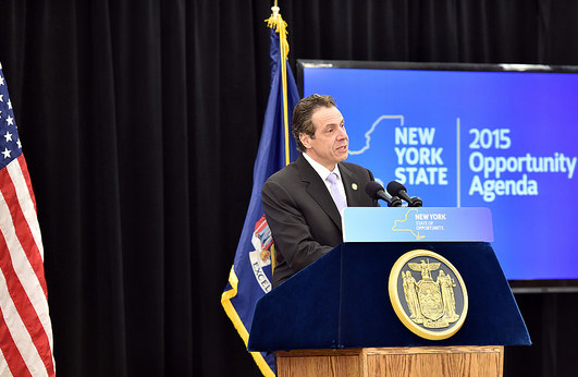 Gov. Andrew Cuomo announces a proposal to offer certain residents a property tax credit on Wednesday. (Credit: Governor's office)