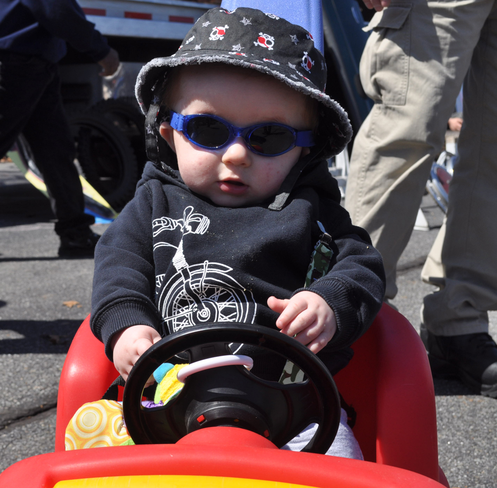 Eight-month-old Gavin Weiner of Selden might have had the most unique hot rod of all Sunday. (Credit: Vera Chinese)