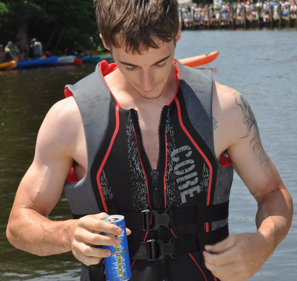 Michael Cobb, 25, of Flanders cracked open an energy drink as he won the Riverhead Yacht Club Regatta. (Credit: Grant Parpan)