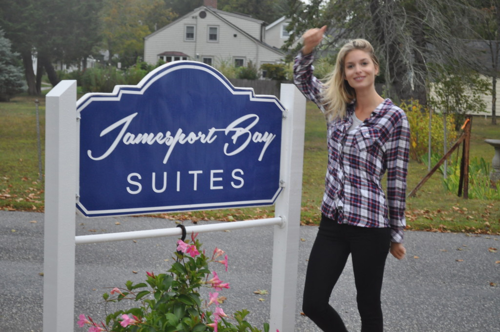 McGregor model Ashlie Bruenun strikes a pose outside Jamesport Bay Suites early Thursday. (Cyndi Murray photo)