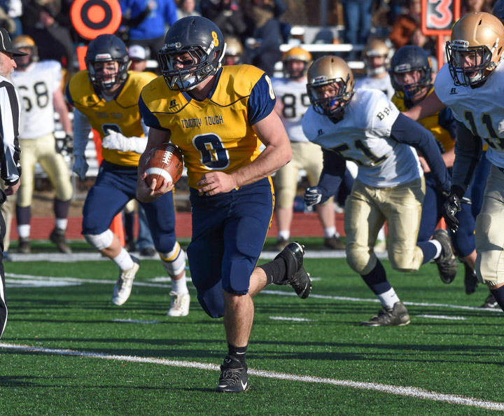 The defense appeared to be keying on Shoreham-Wading River running back Chris Rosati most of the game, but they couldn't stop him on this touchdown run.