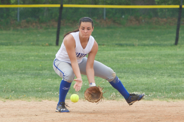 Riverhead shortstop Dani Napoli fields a grounder in the regular season finale Tuesday. The Blue Waves open the playoffs Friday.(Credit: Robert O'Rourk)