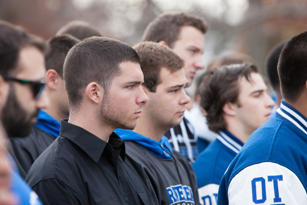 Players from 15 seasons of Riverhead football were in attendance Saturday. (Credit: Katharine Schroeder)