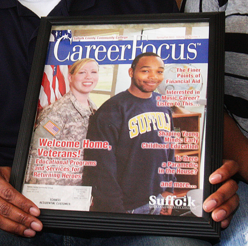 BARBARAELLEN KOCH PHOTO | Demitri Hampon appeared on the cover of a Suffolk County Community College campus magazine in 2012.