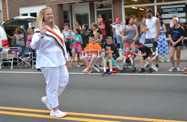 Denise Lucas served as grand marshal of the Jamesport Fire Department parade Wednesday. (Credit: Maggie Bokinz)