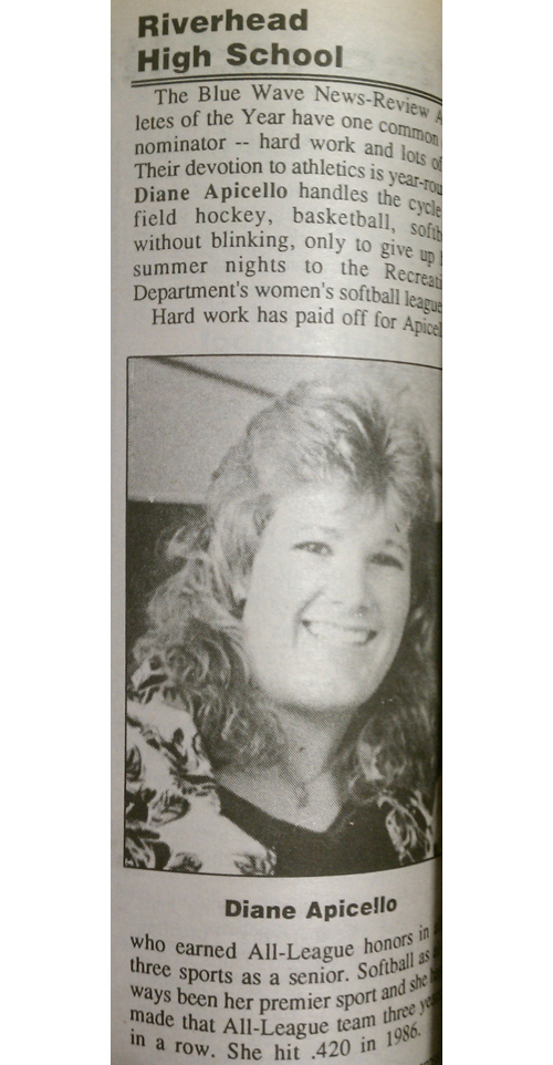 Amanda Graziano's mother, Diane, was the News-Review's 1988 Female Athlete of the Year for Riverhead.
