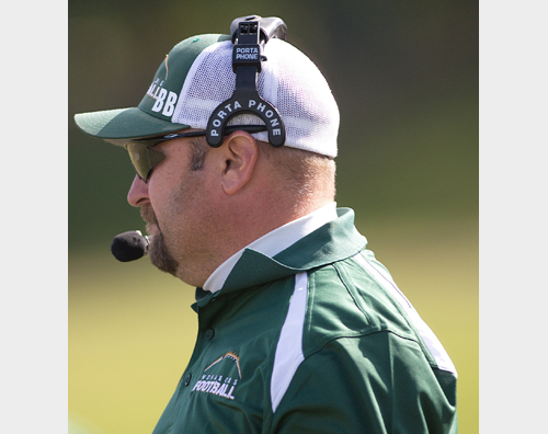 GARRET MEADE PHOTO  |  McGann-Mercy football coach Jeff Doroski faces an uncertain future amid speculation that he will be replaced as the team's varsity coach.
