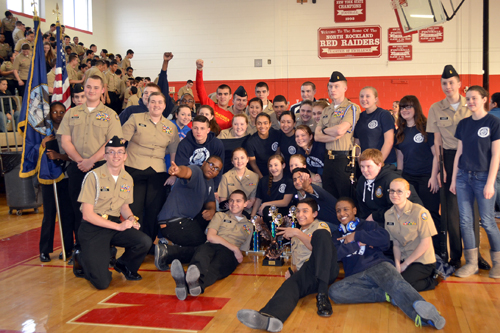 The Riverhead NJROTC drill team (Credit: Riverhead Central School District)