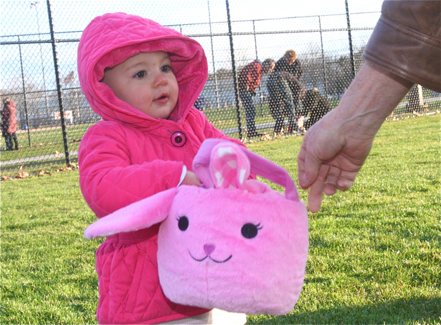 Tori Carrick of Riverhead, 15 months, collects eggs in her bunny basket. (Credit: Barbaraellen Koch)