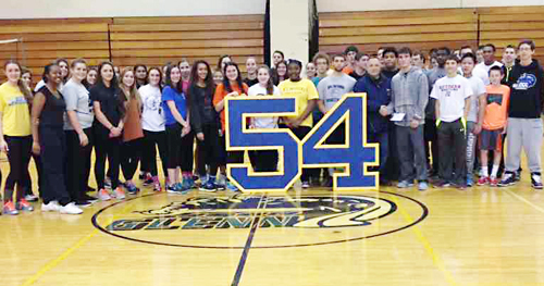 "Students at John Glenn High School donated a ""54"" plaque to Shoreham-Wading River in memory of Tom Cutinella. (Credit: John Glenn School District)"