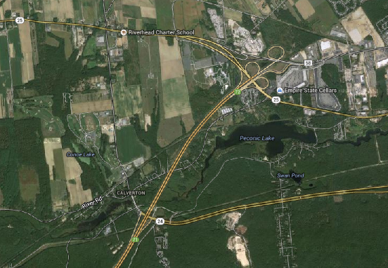 The LIE will be closed from exits 71 to 73 the next two nights. (Credit: Google Earth)