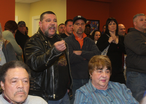 Kenny Alfano of Flanders voices his displeasure that Flanders Riverside Northampton Civic Association membership applications had not been processed in time for the monthly meeting Monday night. (Credit: Barbaraellen Koch)