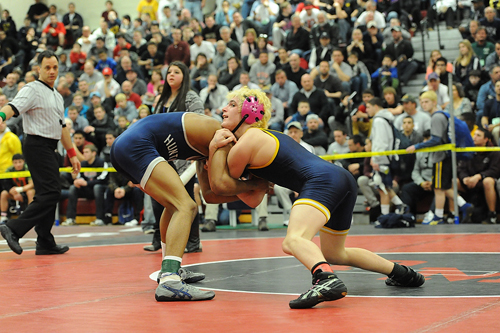 ROBERT O'ROURK PHOTO  |  Shoreham-Wading River senior T.J. Fabian placed third at 126 pounds in the county tournament.