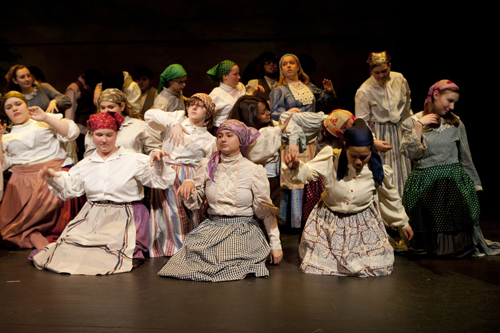 KATHARINE SCHROEDER PHOTO  |  The Riverhead Blue Masques rehearse a scene in 'Fiddler on the Roof.'