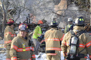 Firefighters at the scene of the explosion in Water Mill. (Credit: The Southampton Press/Dana Shaw)