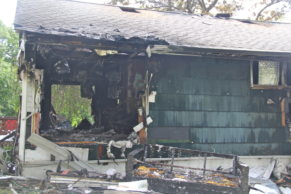 The front of a home in Northampton that was gutted in a fire early Thursday morning. (Credit: Carrie Miller)