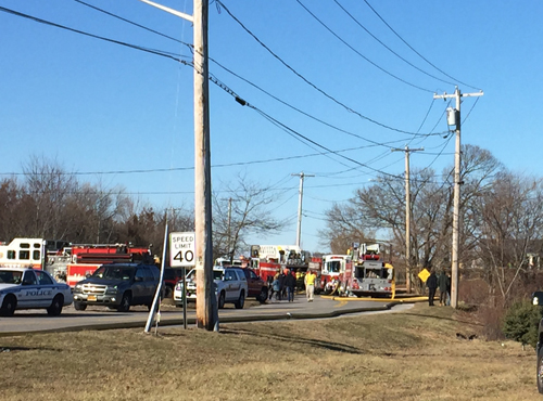 The fire departments line the street. (Credit: Melanie Drozd)