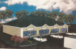 Shopping center rendering.