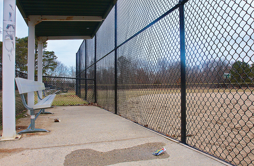 BARBARAELLEN KOCH PHOTO | A dugout at the Flanders Little League baseball field at Iron Point Park.