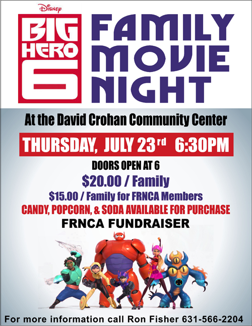 The Disney movie Big Hero 6 will be shown as afundraiser for FRNCA Thursday.