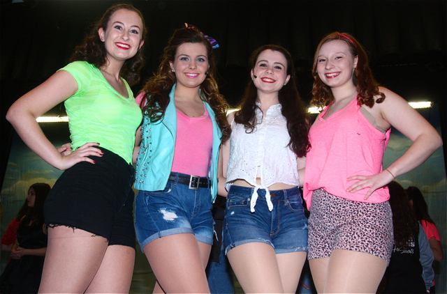"Cast members of ""Footloose"" include: Shannon McAllister as Vrleen (from left), Victoria Carroll as Rusty, Aria Saltini as Ariel Moore and Lauren Schmitt as Wendy Joe. (Credit: Barbaraellen Koch)"