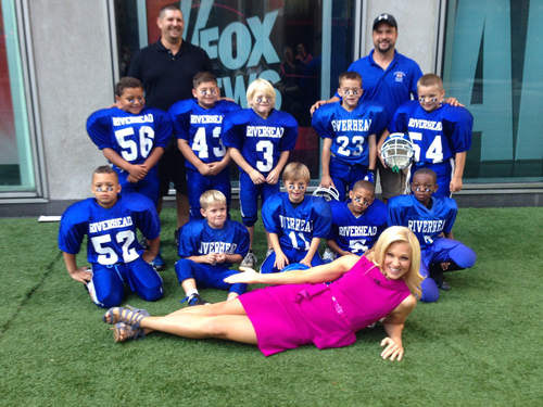 Members of Riverhead's 7-year-old PAL team on the set of Sunday's Fox & Friends show. (Courtesy photo)