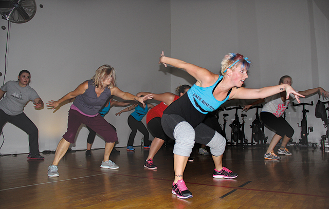 Chrissy Locrotondo leads a Free Bird Fitness class. (Credit: Carrie Miller)