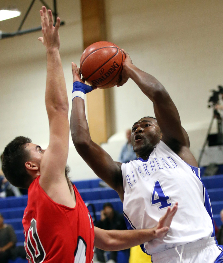Tyrese Kerr scored a team-high 15 points for Riverhead. (Credit: Garret Meade)