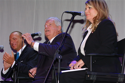 BARBARAELLEN KOCH PHOTO | (L-R) Anthony Coates, John Dunleavy and Jodi Giglio at a debate last year.