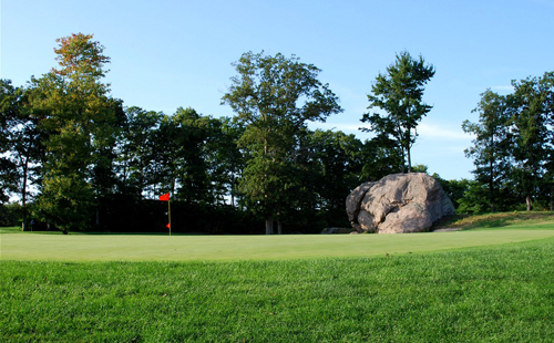 The namesake Great Rock at the 10th hole of the course in Wading River. (Courtesy photo)