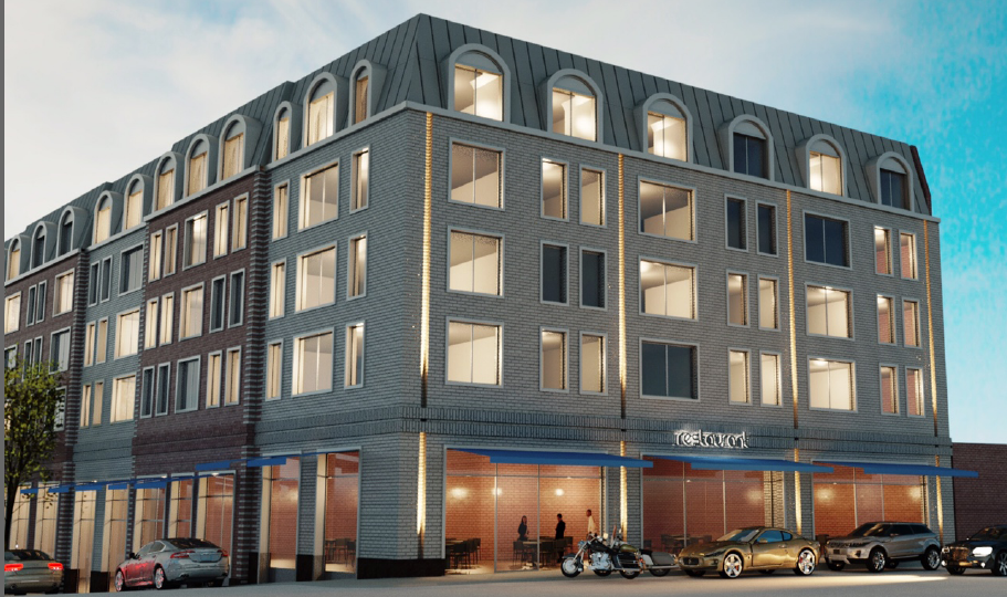 rendering of the proposed Georgica Green apartments on East Main Street.