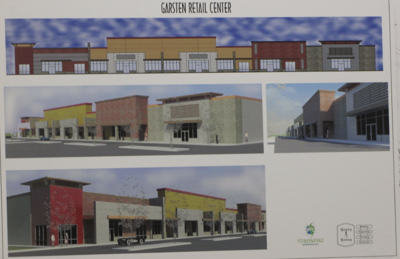 Rendering of proposed Garsten Retail Center on Rt 58 by architect Robert Stromski