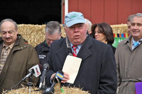 Long Island Farm Bureau president Joe Gergela at Tuesday's press conference in Melville. (Credit: Carrie Miller)
