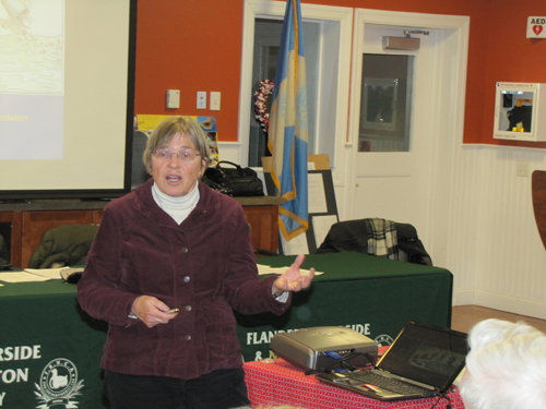Glynis Berry of Peconic Green Growth discussed the potential for failing septic systems in waterfront communities like Flanders and Riverside at Monday's FRNCA meeting. (TIm Gannon photo)