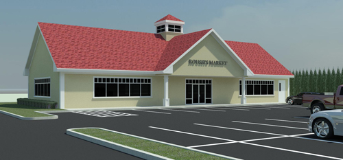 A rendering of a market that could come to Flanders Road, as seen from the south. (Courtesy image)