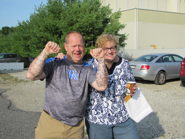 Jerry Halpin and Nancy Reyer teamed up for Saturday's fundraiser at Skydive Long Island. (Credit: Tim Gannon)