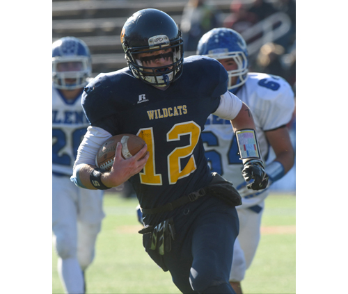 Shoreham-Wading River quarterback Danny Hughes scored six touchdowns in the Wildcats' win over John Glenn Saturday. (Credit: Robert O'Rourk)