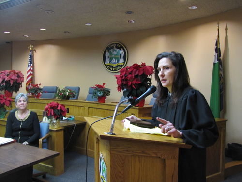 New Town Justice Lori Hulse gave a brief speech at Friday's inauguration ceremony at Town Hall