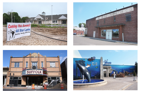 BARBARAELLEN KOCH FILE PHOTOS | Clockwise, from top left: All Star, the former Woolworth building, Long Island Aquarium, and Suffolk Theater — all recipients of IDA tax breaks.