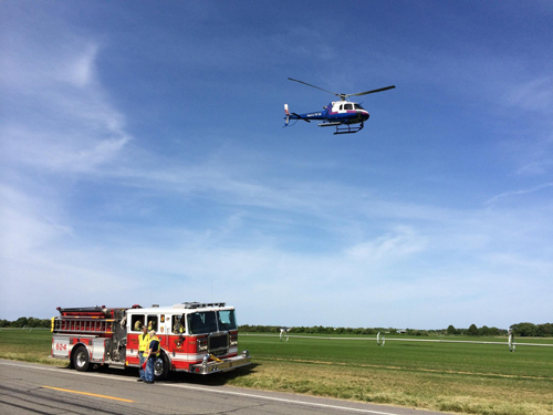 A man was airlifted Sunday afternoon at the DeLalio Sod Farm. (Credit: Grant Parpan)