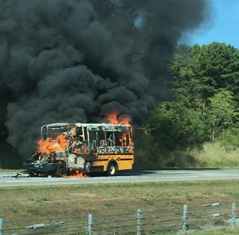 Riverhead school bus fire Long Island Expressway