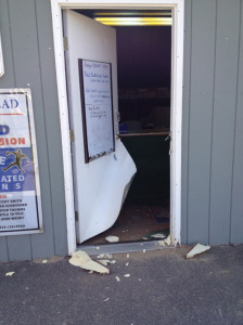COURTESY PHOTO | The doors to the Little League's concession stand and storage area were both damaged.