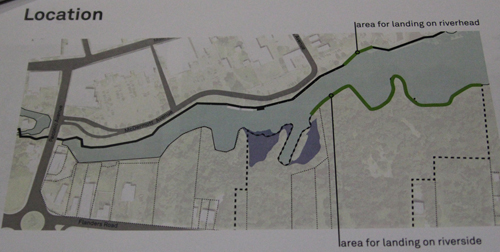 The green lines represent landing areas for a proposed pedestrian bridge over the Peconic River. (Credit: Jen Nuzzo photo of AECOM handout)