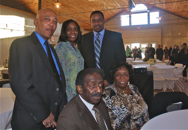 Riverhead News-Review Public Servant of the Year: Carl James with wife Rose, best friend Richard Brown, daughter Carlene Miles and grandson Jordan Harden. (Credit: Barbaraellen Koch)